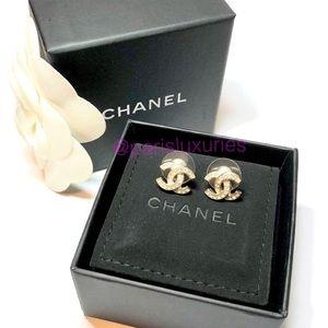 64d1e86ab CHANEL Jewelry | Gold Classic Cc Coco Interlocking Rhinestone Studs ...